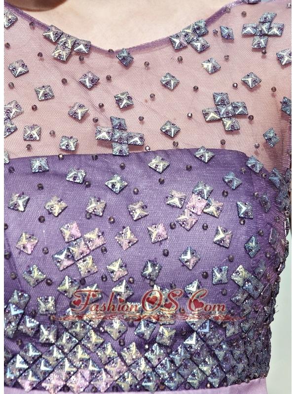 Lavender Empire Scoop Floor-length Chiffon Beading Prom / Pageant Dress