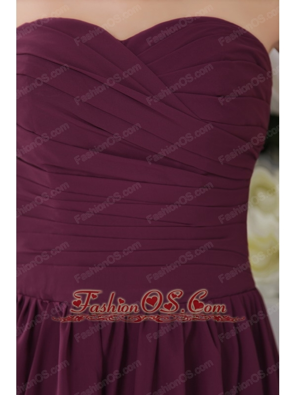 Dark Purple Empire Sweetheart Tea-length Chiffon Pleat Bridesmaid Dress