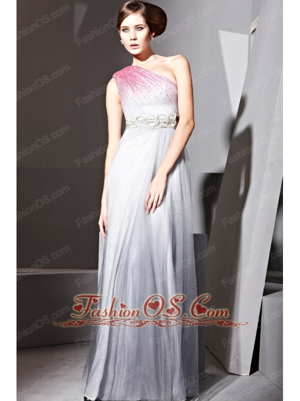 Grey Column One Shoulder Floor-length Tulle Beading Prom Dress