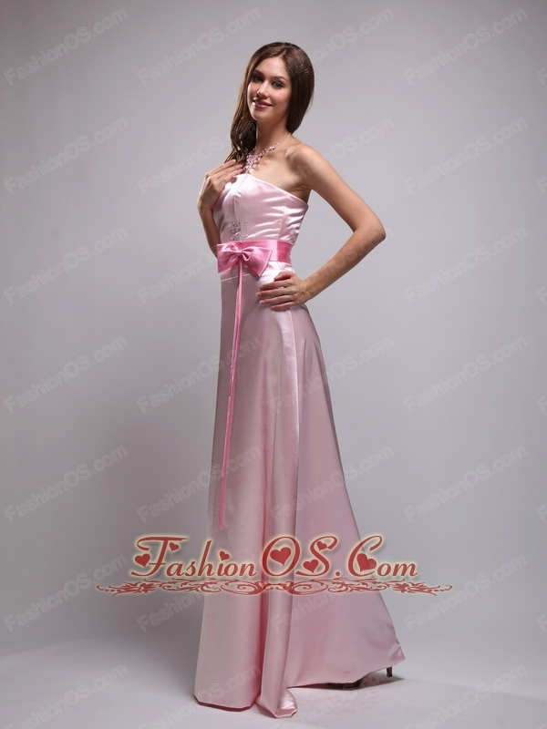Simple Empire Strapless Floor-length Taffeta Bow Pink Bridesmaid Dress