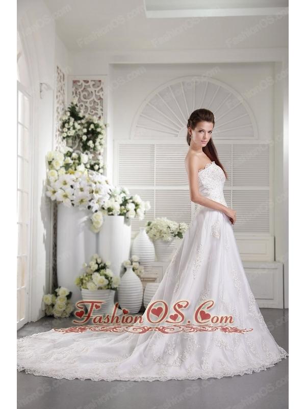 Popular A-line / Princess Strapless Chapel Train Satin and Lace Beading Wedding Dress