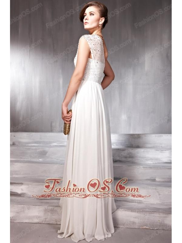 White Empire One Shoulder Floor-length Chiffon Beading Prom Dress