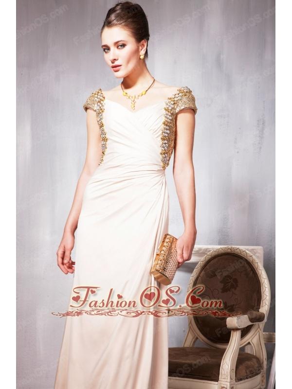 Champagne Empire V- neck Floor-length Chiffon Beading Prom Dress