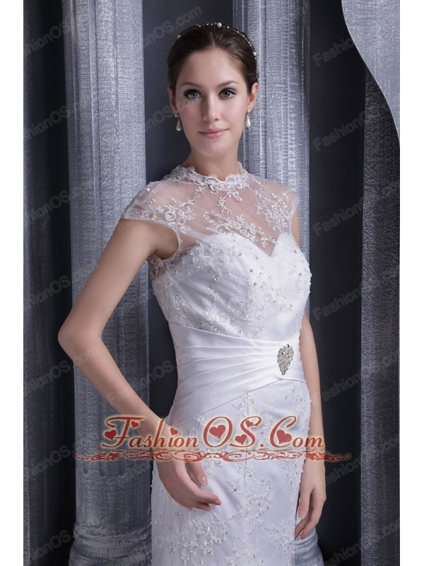 Fashionable Mermaid High-neck Brush Lace and Satin Beading Wedding Dress