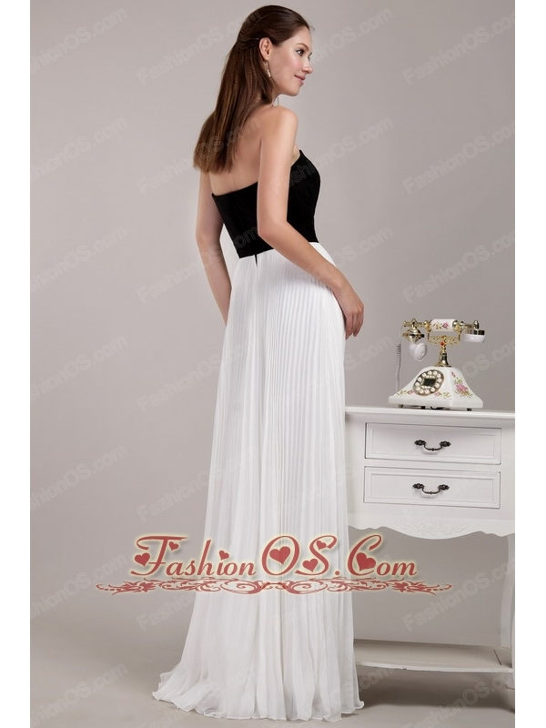 black and white floor length prom dress