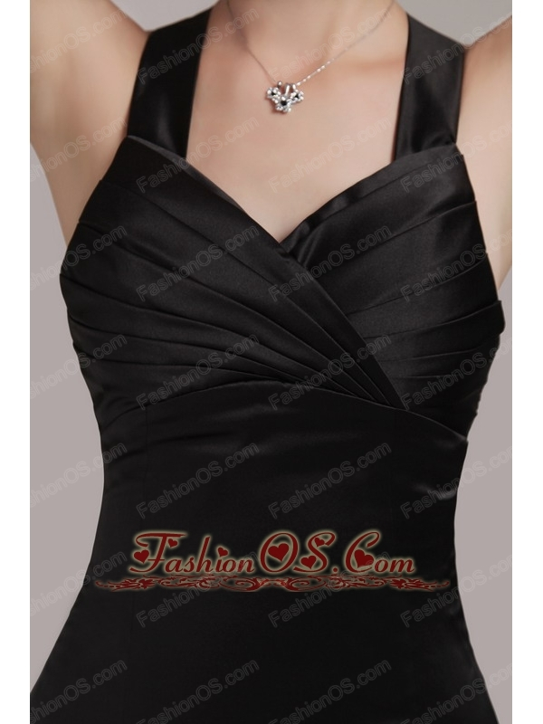 Black Column / Sheath V-neck Mini-length Satin Pleats Prom Dress