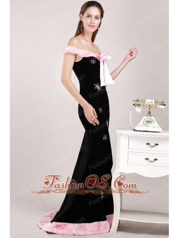 Black Mermaid Off The Shoulder Brush Train Christmas Prom / Evening Dress