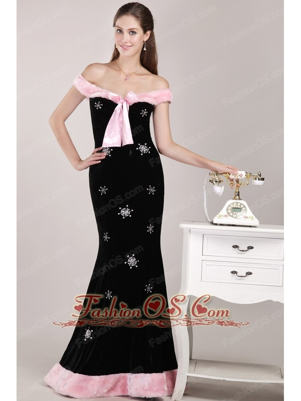 Black Mermaid Off The Shoulder Brush Train Christmas Prom / Evening Dress