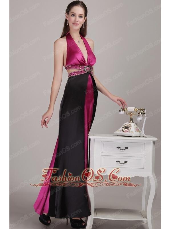 Fuchsia and Black Empire Halter Ankle-length Elastic Woven Satin Beading Prom Dress