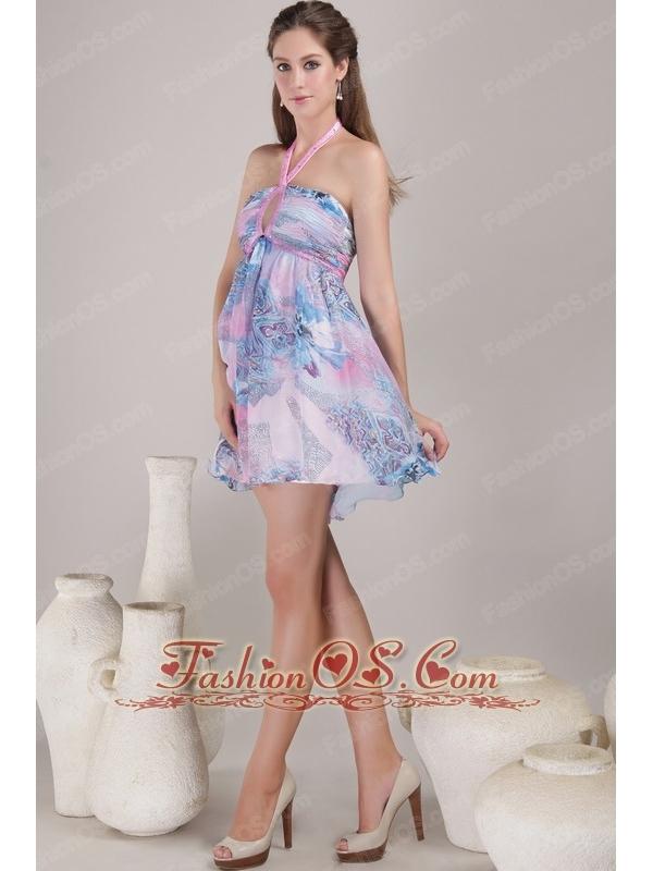 Popular Empire Halter Mini-length Print Beading Prom / Cocktail Dress