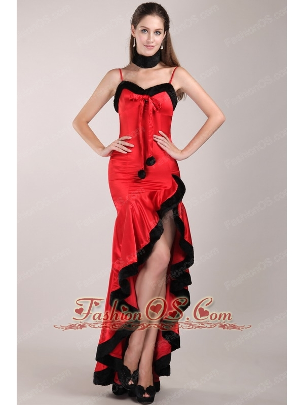 Red and Black Column Straps High-low Beading Prom Dress