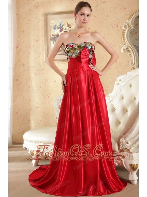 Red Column / Sheath Sweetheart Court Train Taffeta Beading and Bow Prom / Evening Dress