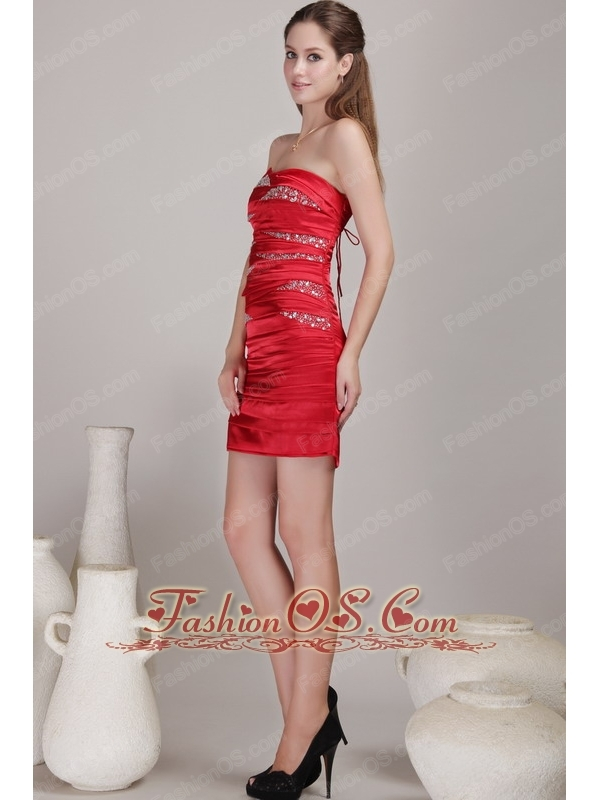 Red Column / Sheath Strapless Mini-length Taffeta Beading Prom Dress