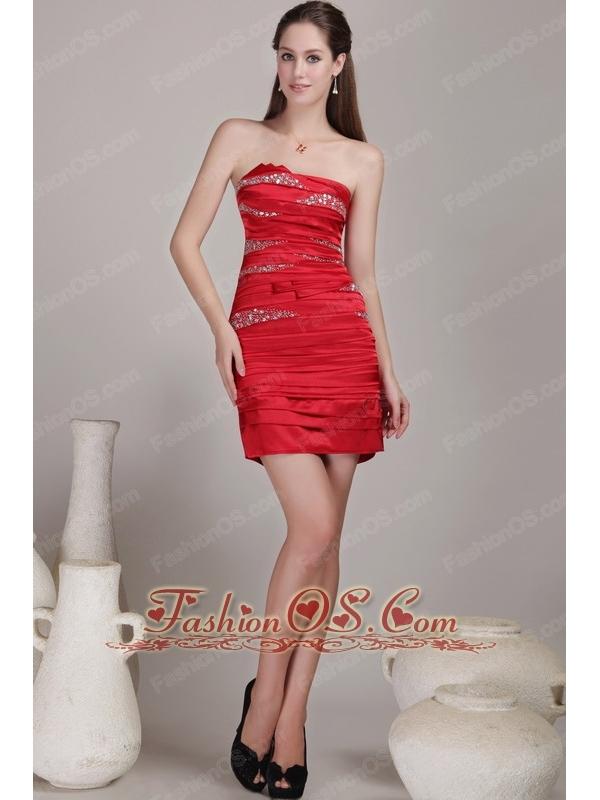 Red Column / Sheath Strapless Mini-length Taffeta Beading Prom Dress
