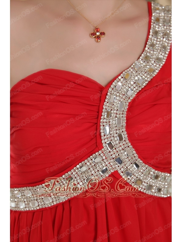Red Empire One Shoulder Chapel Train Chiffon Beading Prom Dress