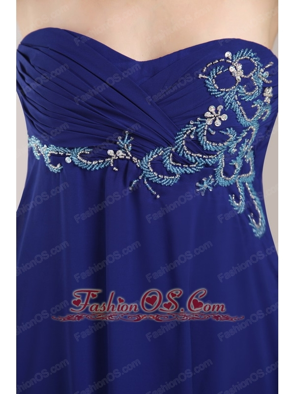 Royal Blue Empire Strapless Floor-length Chiffon Beading Prom / Evening Dress