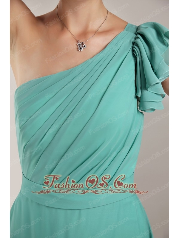 Turquoise Column / Sheath One Shoulder Floor-length Chiffon Ruch Bridesmaid Dress