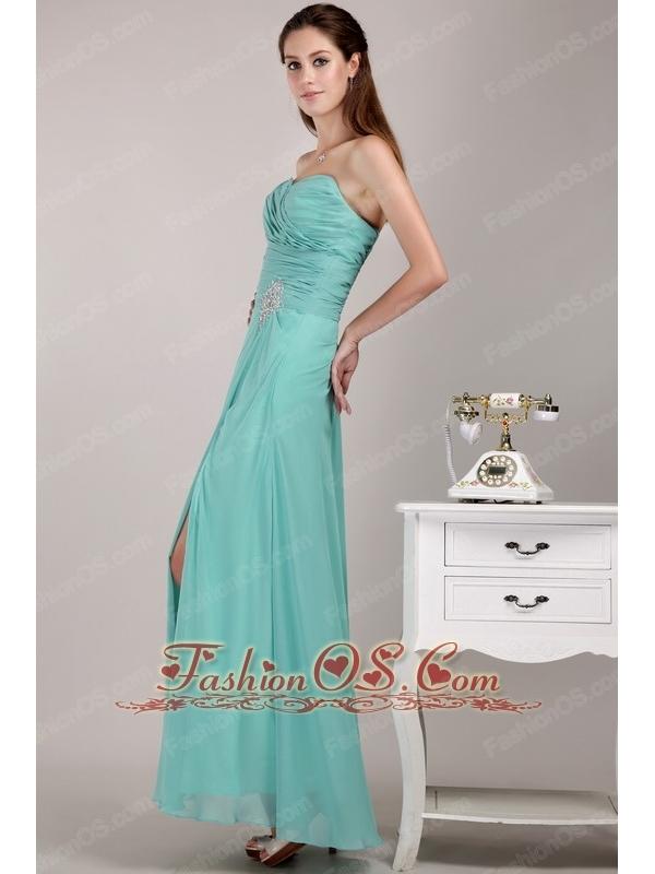 Light Blue Empire Sweetheart Floor-length Chiffon Beading Prom Dress