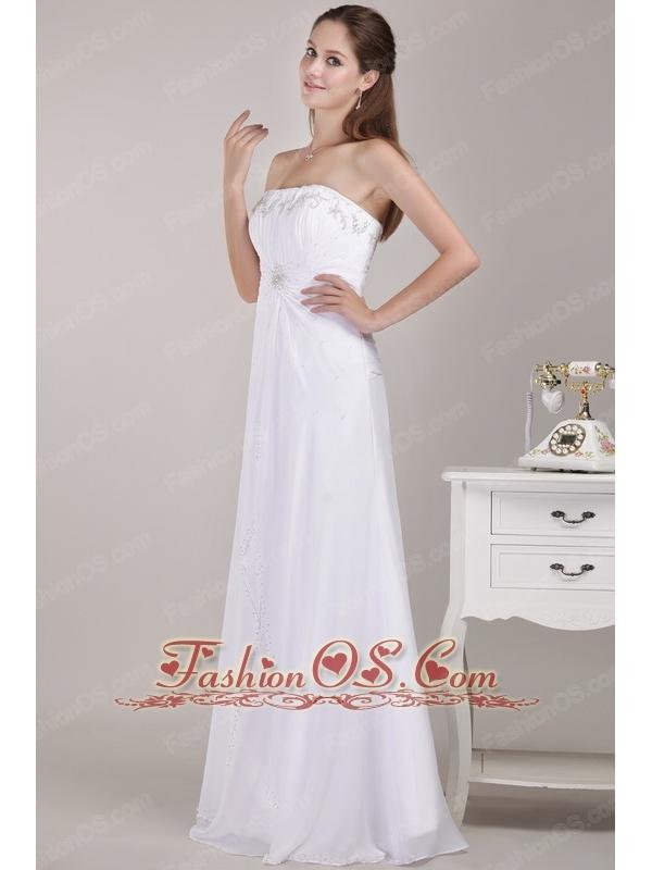 Latest Empire Strapless Floor-length Chiffon Beading Wedding Dress
