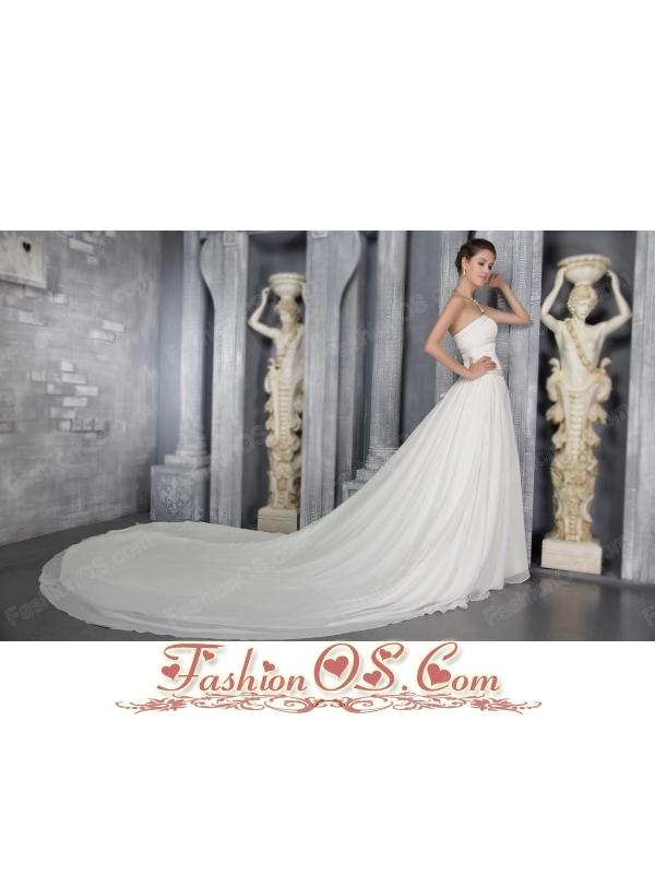 A-Line/Princess Strapless Cathedral Train Chiffon Pleat Wedding Dress