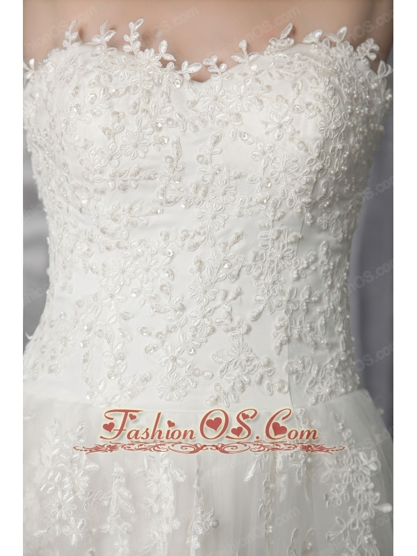 Beautiful Empire Sweetheart Sweep / Brush Train Tulle Lace Wedding Dress