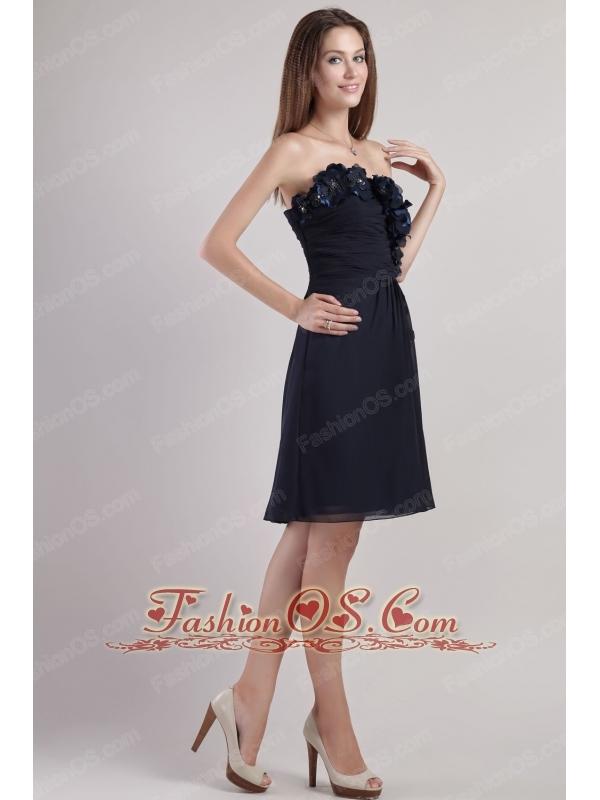 Black Empire Strapless Mini-length Chiffion Appliques Prom / Homecoming Dress