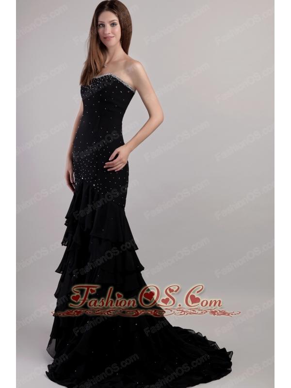 Black Trumpet / Mermaid Sweetheart Court Train Chiffon Beading Prom Dress