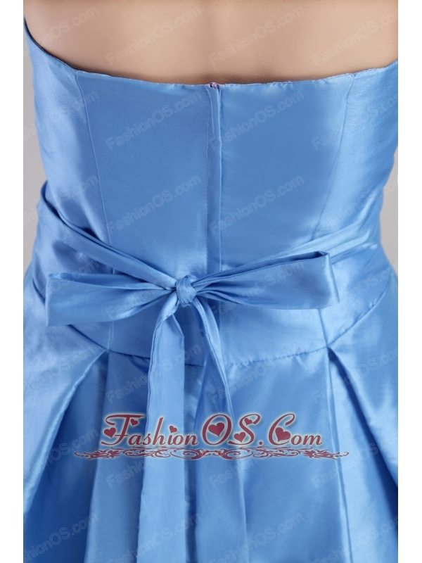 Blue A-line Strapless Mini-length Taffeta Prom / Homecoming Dress
