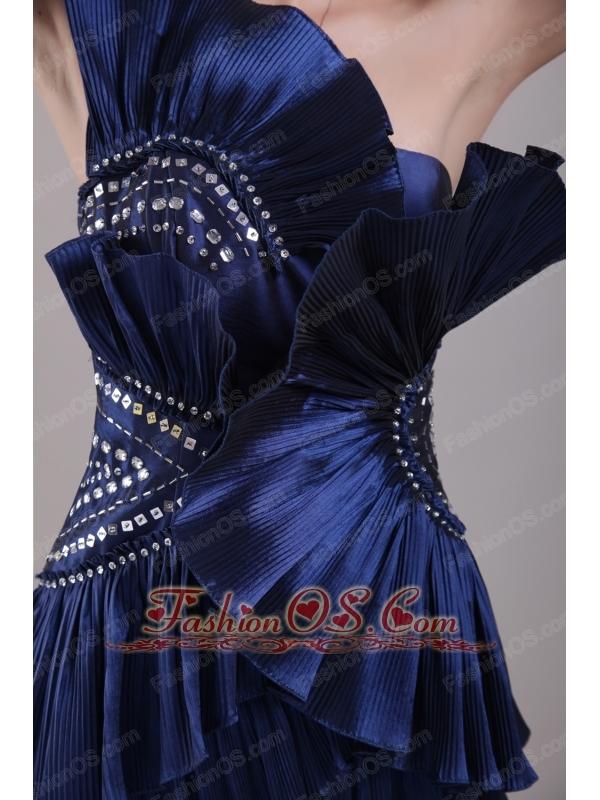 Navy Blue Column Strapless Mini-length Taffeta Beading  Prom / Cocktail Dress