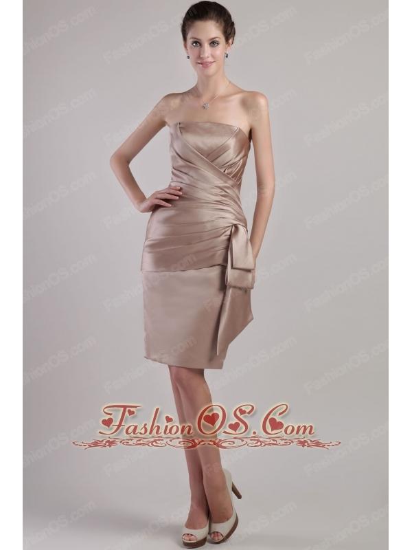 Brown Column / Sheath Strapless Knee-length Satin Pleats Mother of the Bride Dress