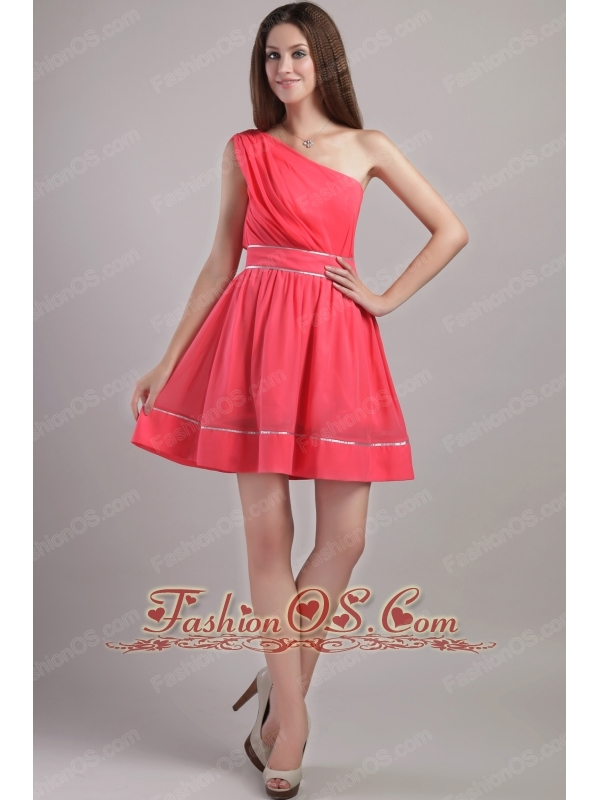 Coral Red A-line One Shoulder Mini-length Chiffon Prom / Cocktail ...