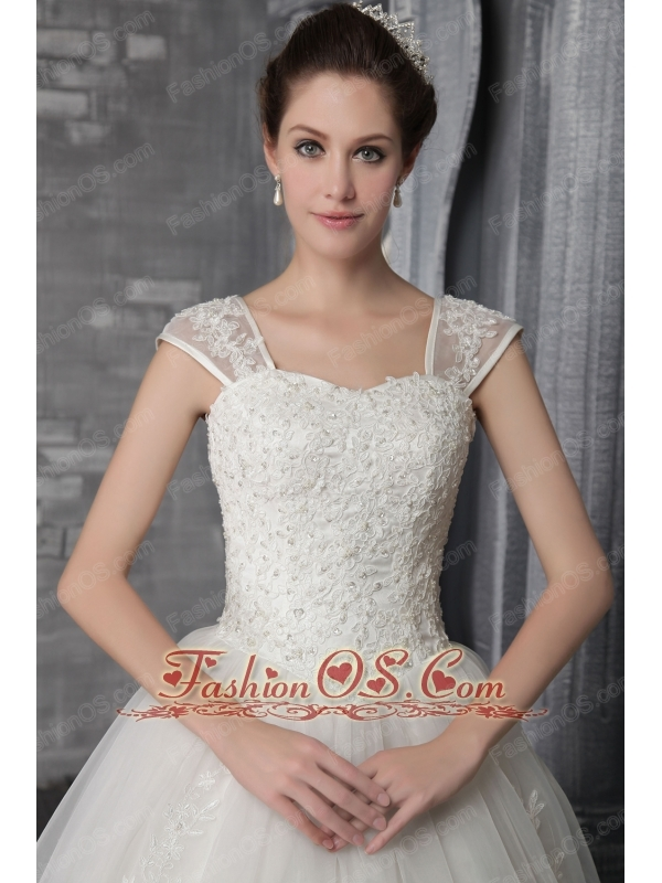 Elegant A-Line / Princess Square Neck Chapel Train Organza Appliques Wedding Dress