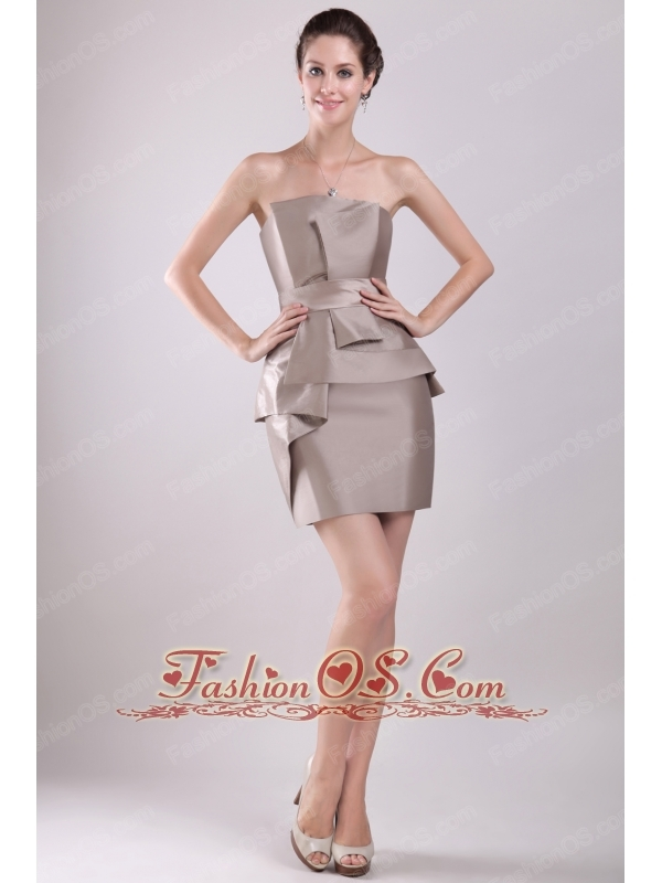 Brown Column Strapless Mini-length Taffeta Bowknot Mother Of The Bride Dress
