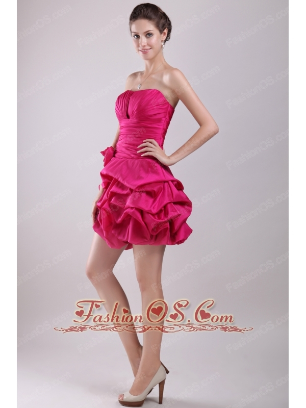 Hot Pink A-line Strapless Mini-length Taffeta Hand Made Flower Prom / Homecoming Dress