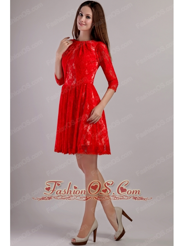 Red Empire Bateau Mini-length Lace Embroidery Mother Of The Bride Dress