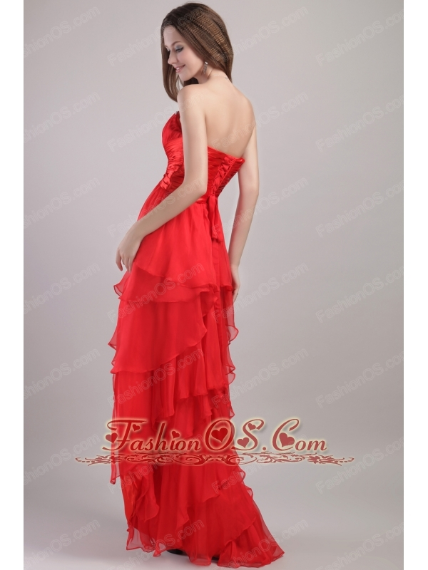 Red Empire Sweetheart High-low Organza Beading Prom Dress