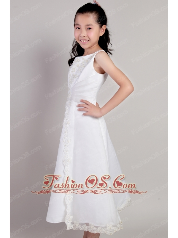 White A-line Scoop Tea-length Taffeta and Organza Appliques Flower Girl Dress