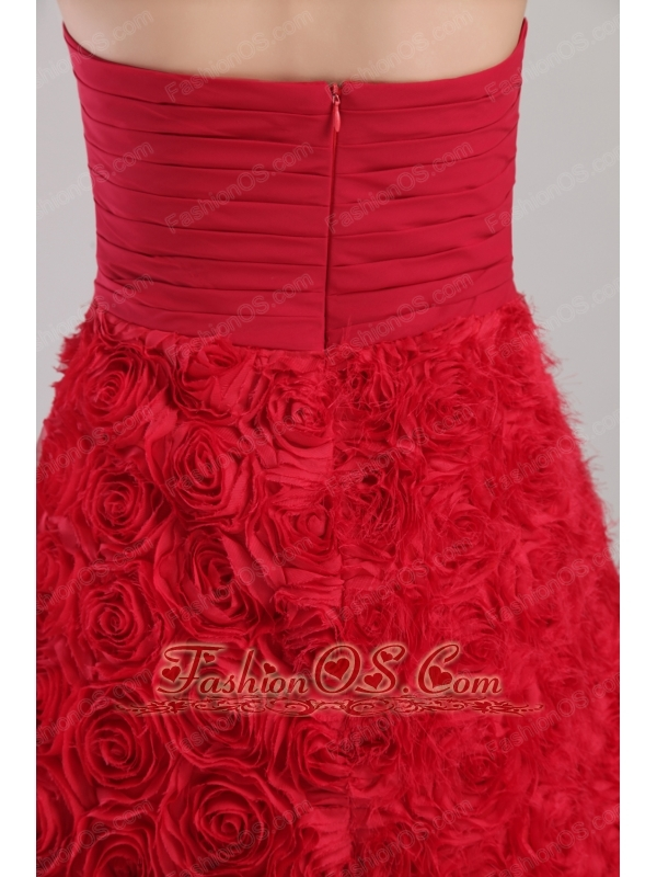 Wine Red A-line Strapless Mini-length Rolling Flowers Prom / Cocktail Dress