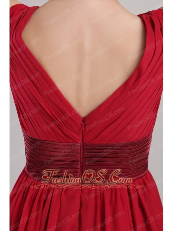 Wine Red Empire V-neck Knee-length Chiffon Sash Bridesmaid Dress