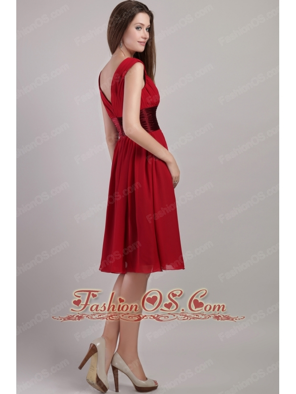 Wine Red Empire V-neck Knee-length Chiffon Sash Bridesmaid Dress