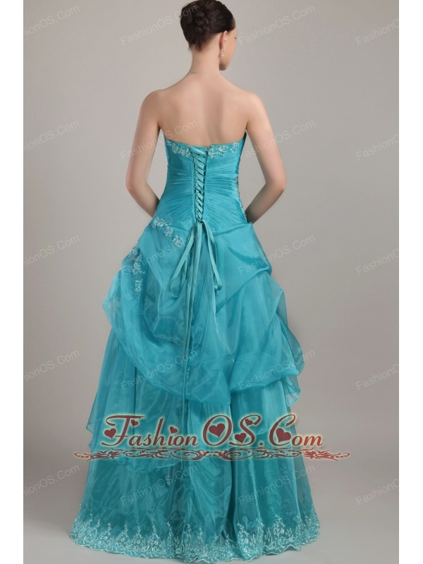 Turquoise Column / Sheath Strapless Floor-length Organza Appliques and Beading Prom Dress