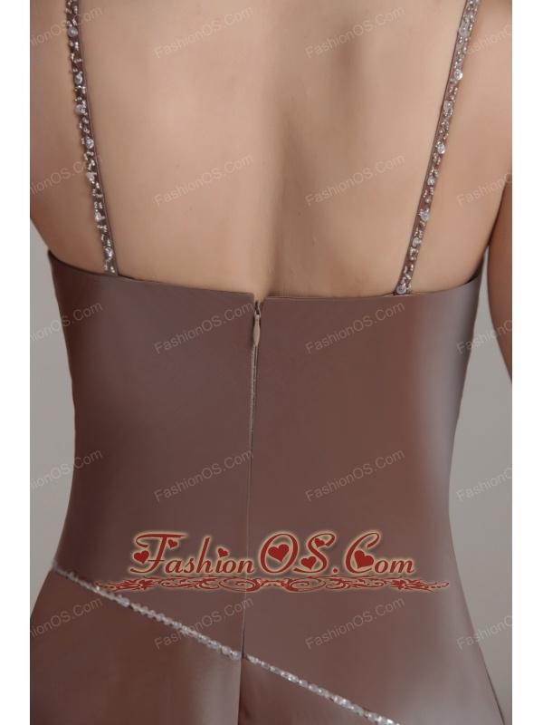Brown A-line Spaghetti Strap Floor-length Taffeta Sequins Prom Dress