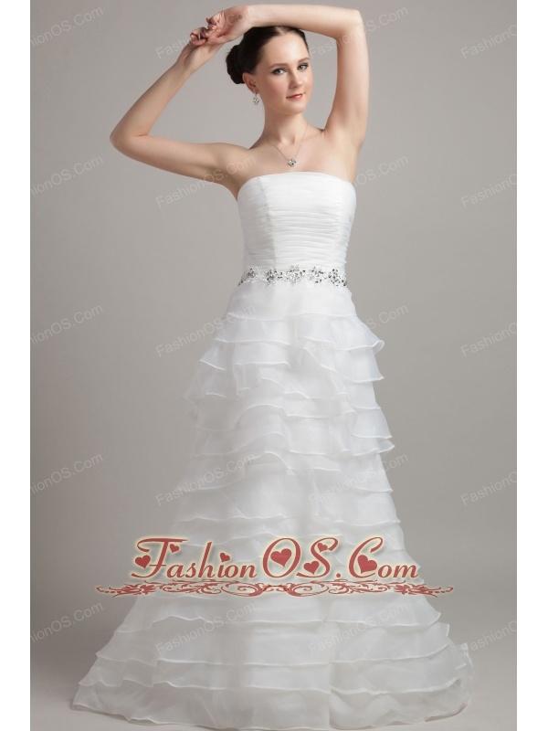 Exclusive A-line / Princess Court Train Strapless Organza Ruffles Wedding Dress
