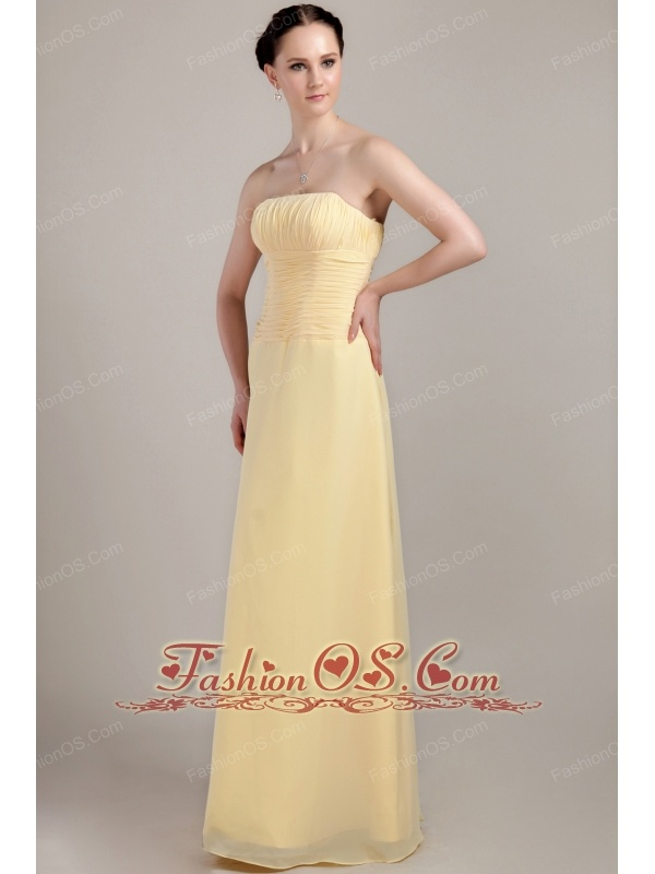 Light Yellow Column / Sheath Strapless Floor-length Chiffon Ruch Bridesmaid Dress