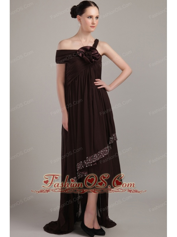 Brown Empire Asymmetrical High Low Chiffon Beading Plus Size Prom