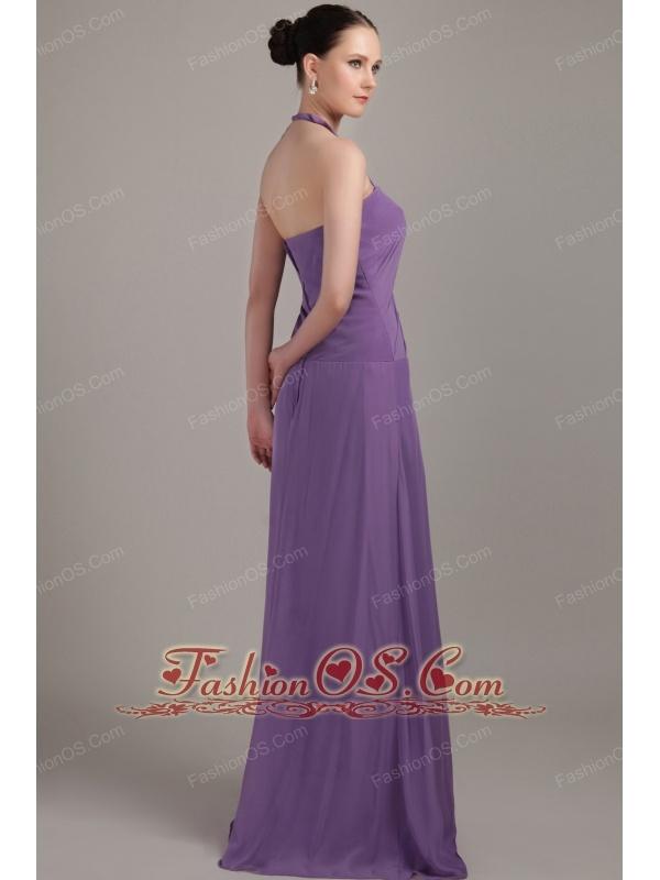 Purple Column Halter Brush Train Chiffon Ruch Bridesmaid Dress