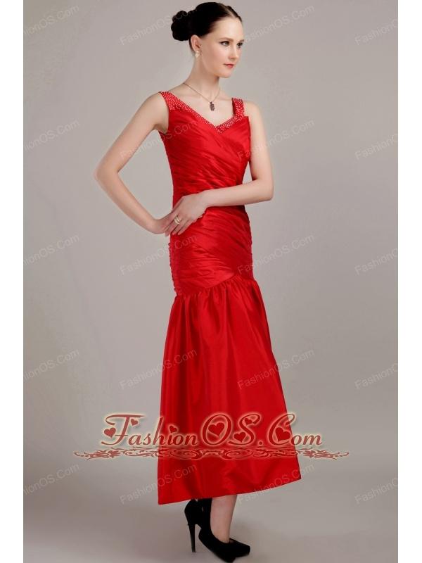 Red Column / Sheath V-neck Tea-length Taffeta Prom Dress