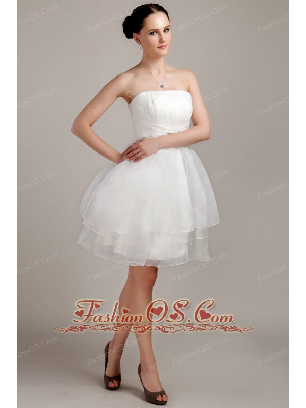 Perfect A Line Princess Strapless Mini Length Organza Beading And Ruch Short Wedding