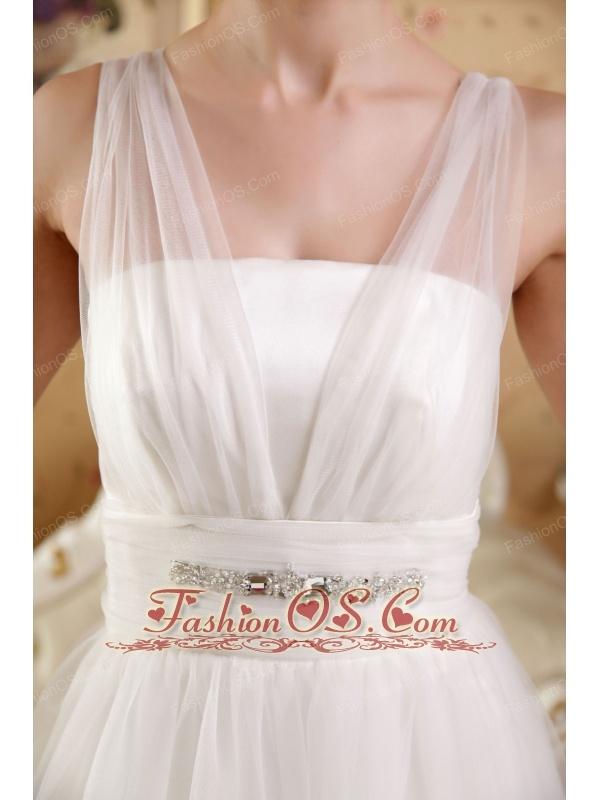 Perfect A-Line / Princess V-neck Brush Train Satin and Tulle Beading Wedding Dress