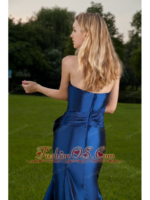Royal Blue Mermaid Strapless Floor-length Taffeta Ruch Prom / Celebrity Dress